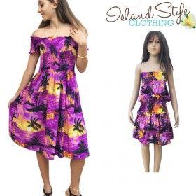 Purple sunset mother & daughter matching hawaiian shirt and dress luau fancy dress