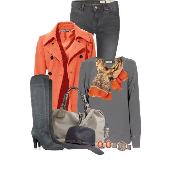 Grey and Orange, created by ciribiricoccola on Polyvore