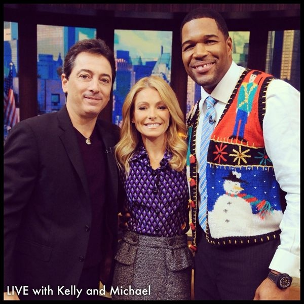Michael Strahan sporting an ugly sweater with actor Scott Baio on #KellyandMichael