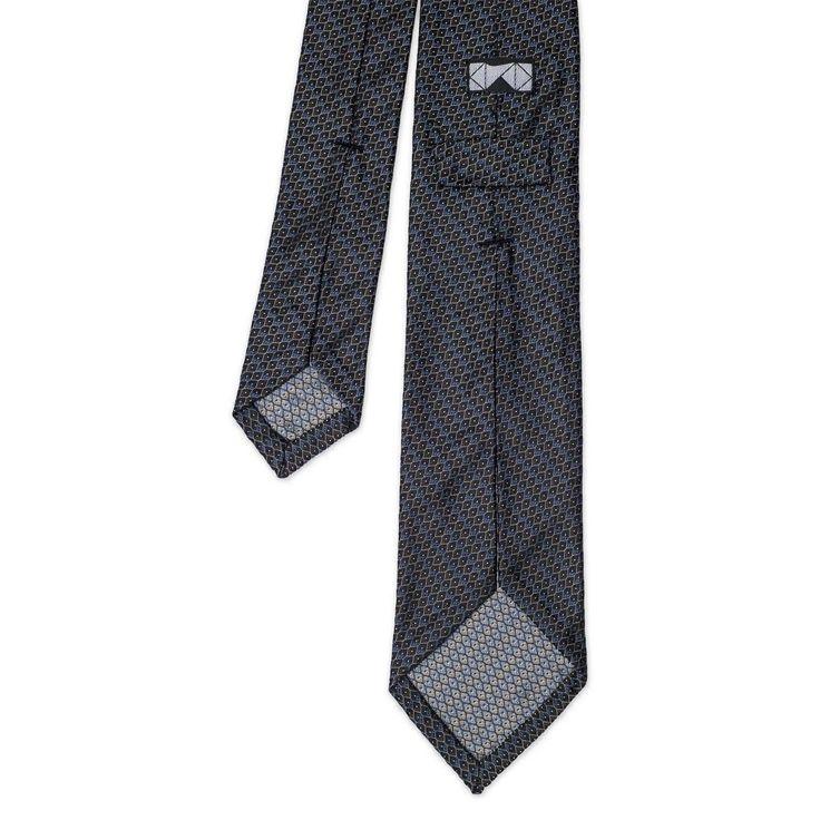 Brown Blue Jacquard Silk Tie