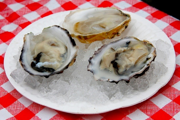 Freshly shucked oysters from the Santa Monica Farmers Market