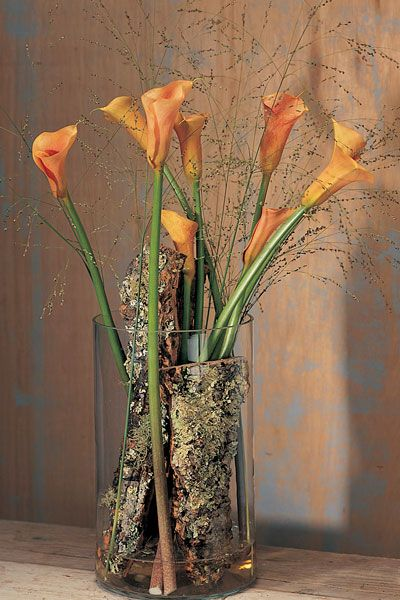 Add bark to your vases for a cool rustic-chic vibe