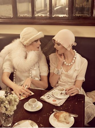 twenties fashion | Tumblr afternoon tea and cloche hats and gobstopper pearls and fur