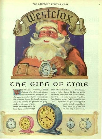 Westclox watches ad with Santa Claus from 1930. The Saturday Evening Post.: Watches Ad, Vintage Christmas, Westclox Watches, Wonderful Time, Xmas Ads, Saturday Evening Post