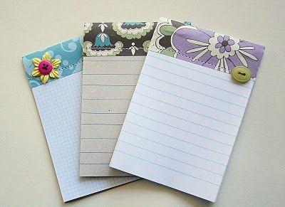 Homemade pretty notepads