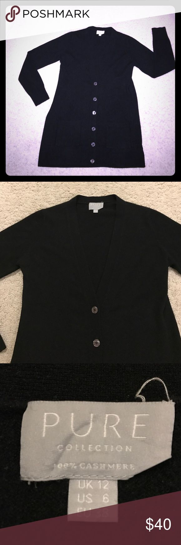 Pure Cashmere long cardigan sweater US 6 UK 12 This is a long black cashmere cardigan sweater shirt top by Pure Cashmere in US size 6, UK size 12, and Euro size 38. It has two front pockets. It is in excellent used condition! Thanks for looking!!!! Anthropologie Sweaters Cardigans