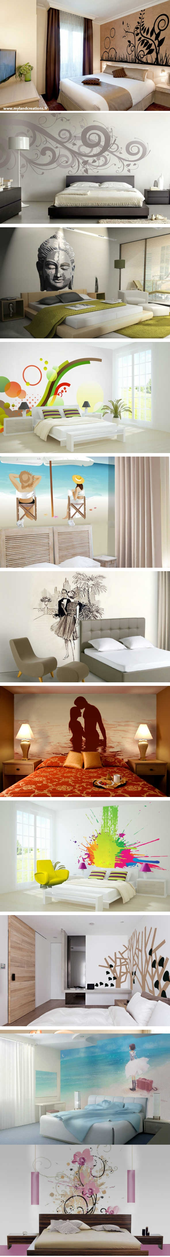 Projets de murs peints pour décorer des chambres, soit pour des hôtel, ou bien chez vous. Décoration zen, floral, bord de mer, design, coloré..