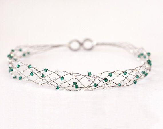 42_Emerald green crystal tiara,Silver headband, Grecian hair accessories, Emerald headband,Green party crown,Fantasy,Crystals headband.  ✓ The size is
