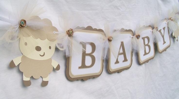 Gender neutral baby shower banner, lamb baby shower, white, ivory, tan,. $23.00, via Etsy.