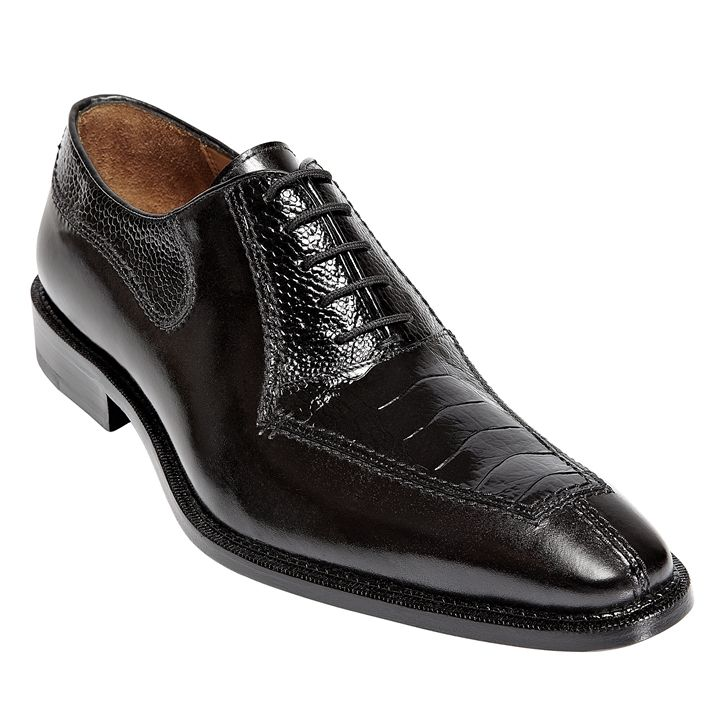 Mens Ostrich Top Shoes by Belvedere Black Shoes Dino 0B1