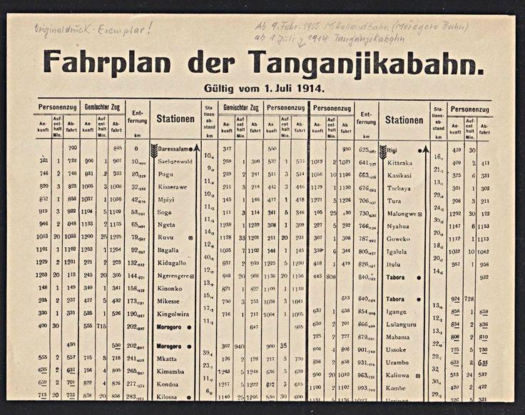 German East Africa Railway Schedule Plan,  TANGANJIKABAHN 1914