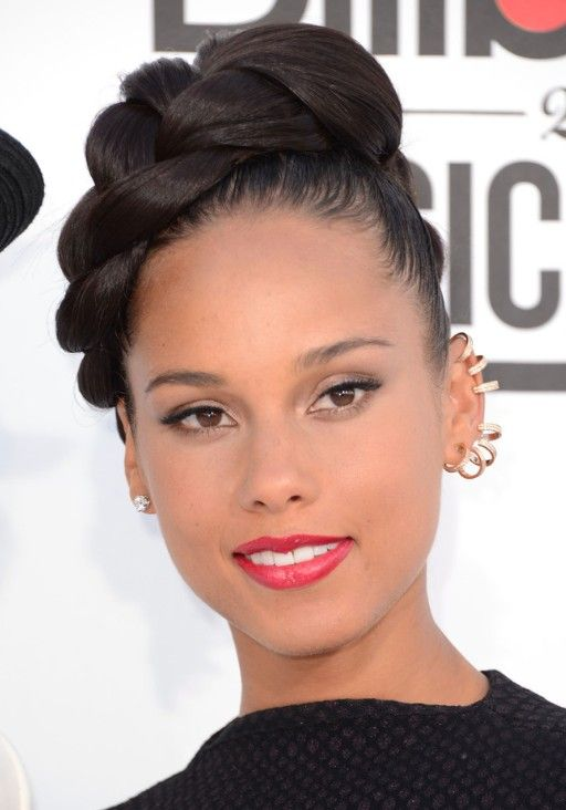 up du for hair | Picture of Alicia Keys Trendy Braided Updo Hairstyles - FaceBook ...