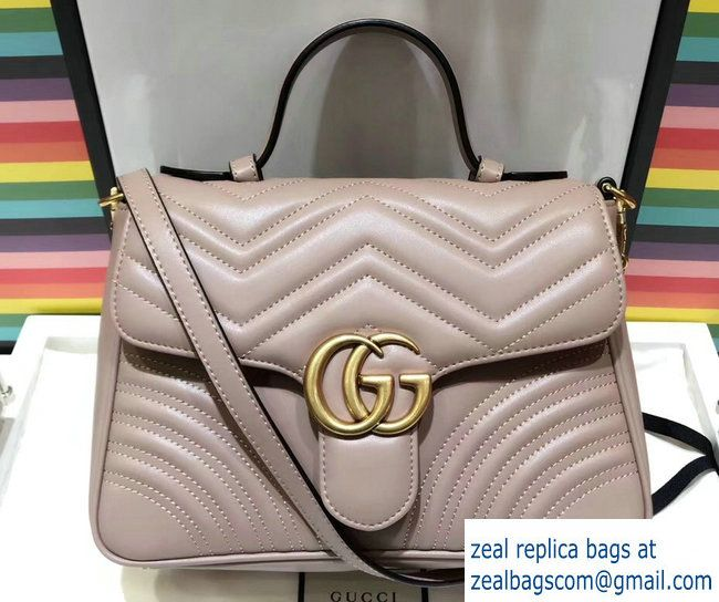bf51a8bab2cd Gucci GG Marmont Matelasse Chevron Small Top Handle Bag 498110 Nude 2017