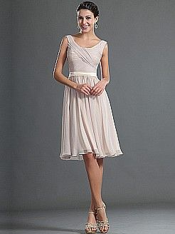 Simple Sleeveless Knee Length Chiffon Bridesmaid Dress with Ribbon Sash - USD $89.86