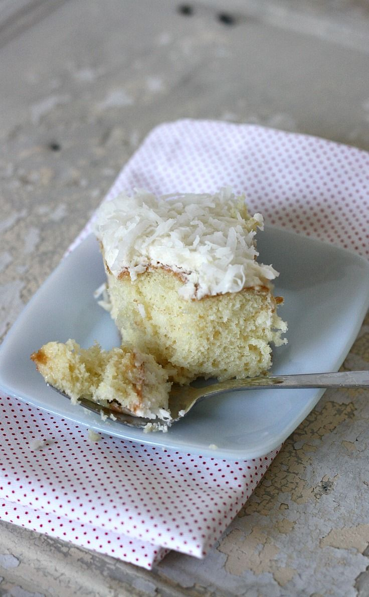 Coconut cream poke cake uses cream of coconut and
