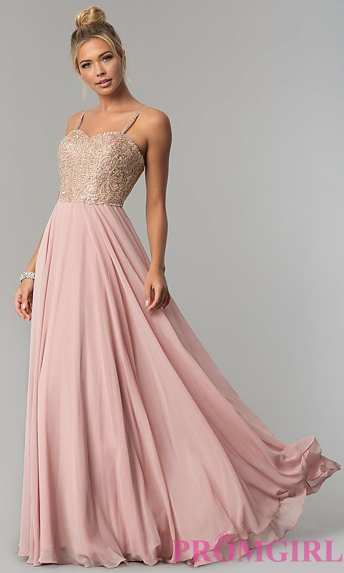 379f4a280c157 Chiffon Prom Dress with Embellished-Lace Bodice in 2019 | char's ...