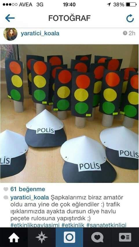 Polis şapkası ve trafik Işıkları