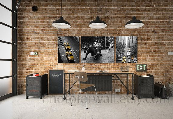 New York Large canvas art Large Art set of 3 black by PHOTOFORWALL