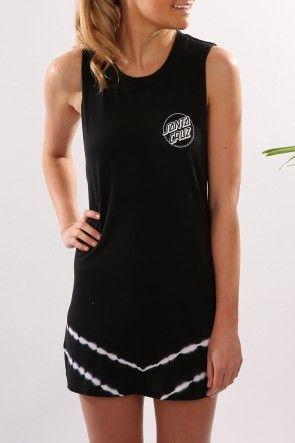 Santa Cruz - Classic Dot Muscle Dress Black $64.95 Shop // http://www.jeanjail.com.au/ladies/santa-cruz-classic-dot-muscle-dress-black.html