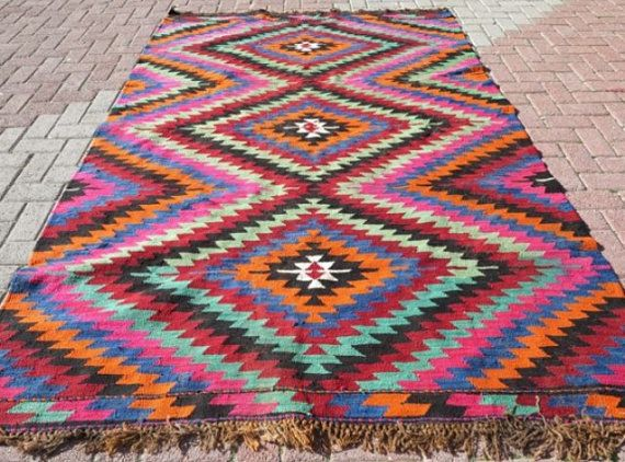 Beautiful Antique Anatolian Kilim Bohemian Rug By