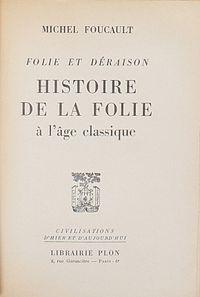 Michel Foucault: Madness and Civilization (Plon edition).jpg. De Groene: boeken die ons denken veranderden.