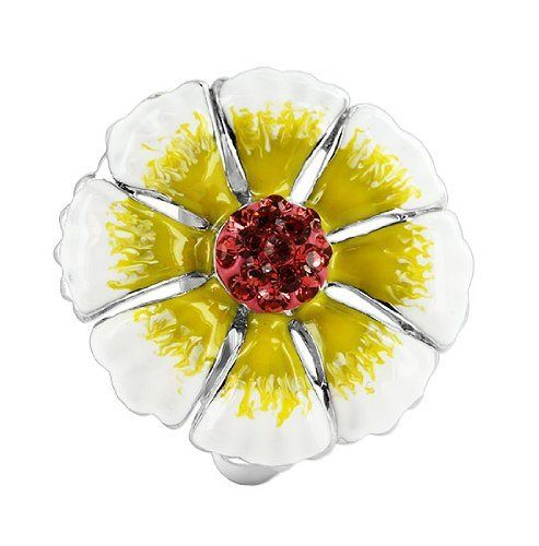 Sterling Silver White and Yellow Enamel 21mm Flower with Cubic Zirconia 3mm Band Ring Gem Avenue. $25.99. Gem Avenue SKU# BIRS013. 1mm CZ and 3mm Band. Sterling silver. 21mm wide Flower Design. White and Yellow Enamel
