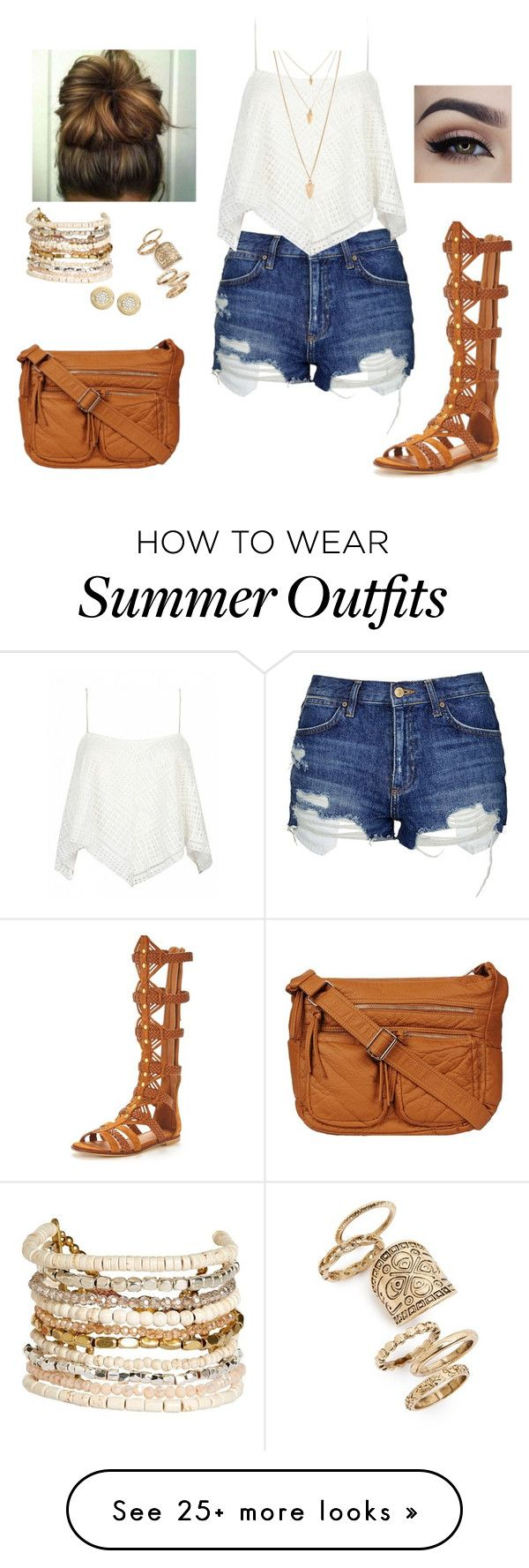 """Summer outfit"" by luxurybarbie on Polyvore featuring Topshop, KG Kurt Geiger, Panacea, Forever 21 and Michael Kors"