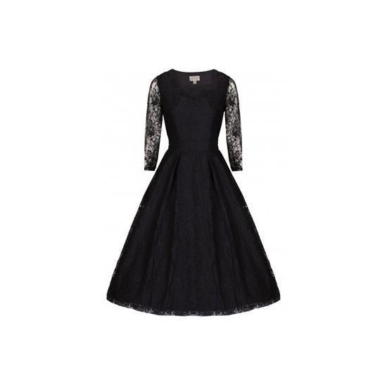 Retro šaty Lindy Bop Lisette Black Šaty ve stylu 50. let. Krásné společenské šaty vhodné pro slavnostní příležitost - na ples, do divadla, na párty. Klasická černá, dvě vrstvy - spodní strečová bavlna, vrchní krajka s průhlednými rukávy, vzadu v pase menší mašle, zip v boční straně. Krásně sedí, doporučujeme se spodničkou, která šatům dodá dokonalý objem a kterou najdete také v nabídce.