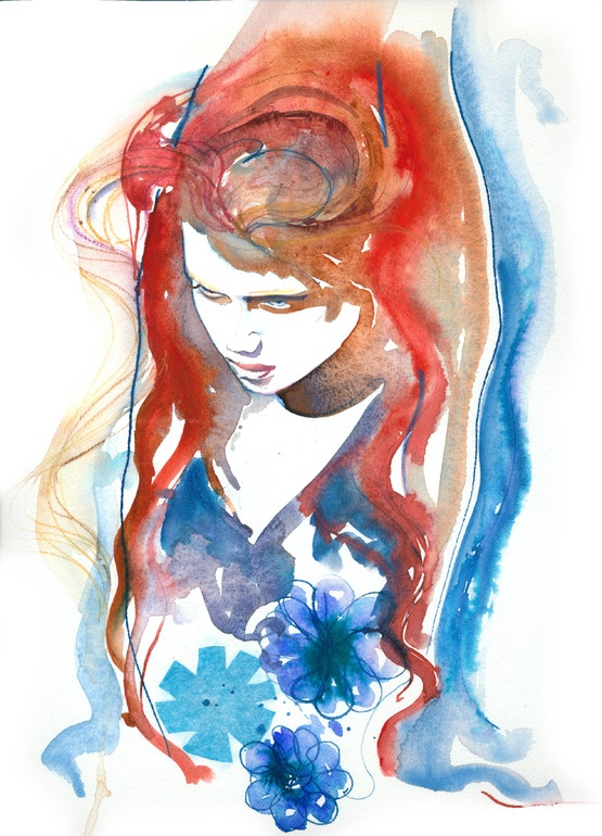 "Saatchi Online Artist: Cate Parr; Watercolor, 2010, Painting ""Amber"""