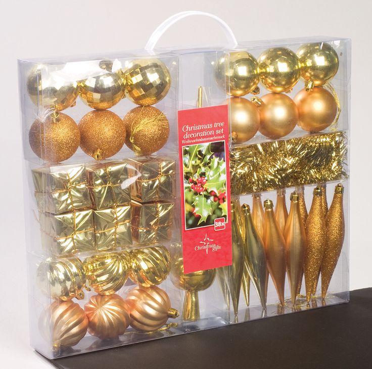 Kerstdecoratieset goud  Description: In deze opbergkoffer met handvat zitten maar liefst 38 dieprode kerstdecoraties voor het versieren van de kerstboom. Gemaakt van onbreekbaar kunststof. De set bestaat uit: 18 kerstballen. 6 pakjes. 12 pegels. 1 slinger 25 meter. 1 piek 30 cm lang. Afmetingen draagkoffer: 34 x 43 cm.  Price: 21.99  Meer informatie