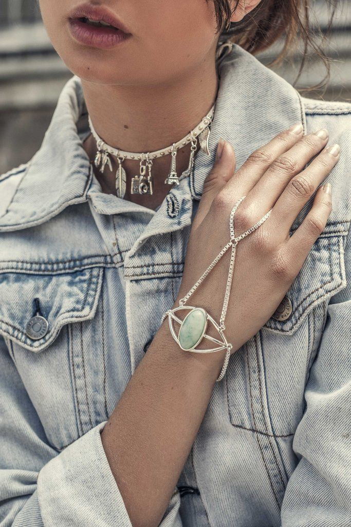 Turquoise Seas Hand Chain - Loca Wild Hand Piece Silver Chain & Turquoise Stone. Ocean lover & adventurer jewelry. Shop online now.