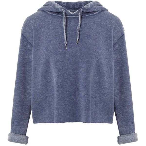 Miss Selfridge Blue Cropped Hooded Sweatshirt (155 BRL) ❤ liked on Polyvore featuring tops, hoodies, sweatshirts, shirts, sweaters, jackets, indigo, cropped hoodie, long sleeve polyester shirts and blue sweatshirt