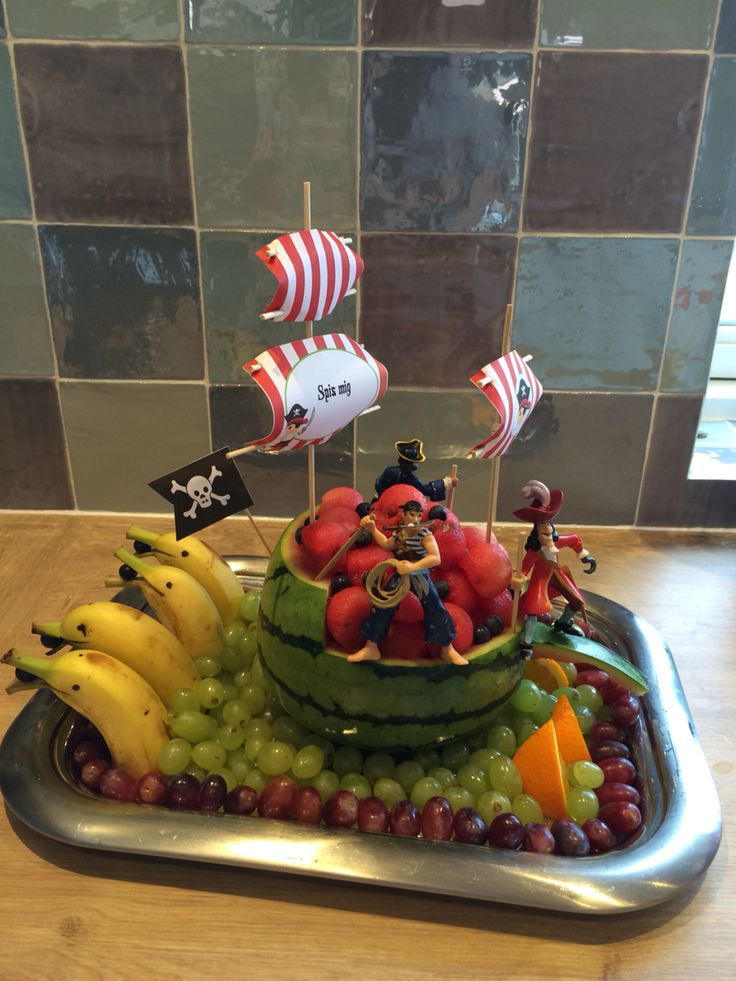 Pirate ship watermelon carving, fruit dolphins.                                                                                                                                                                                 More