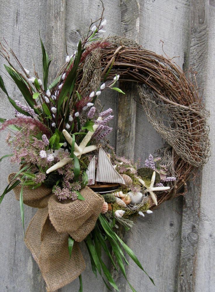 Sailboat Wreath, Beach Wreath, Summer Cottage Wreath, Coastal, Nautical, Nantucket, Cape Cod. $139.00, via Etsy.
