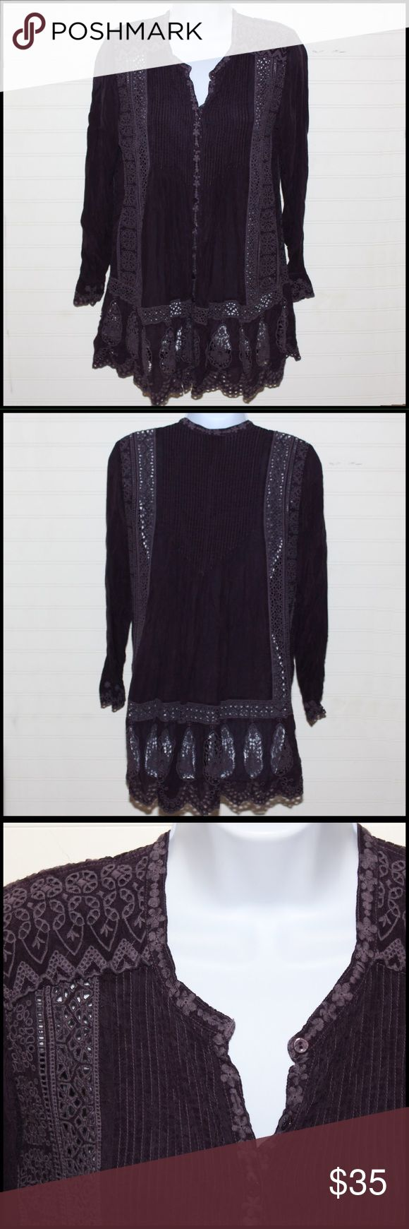 Johnny Was beautiful detailed tunic top in Plum One of my favorite brands! Love the detailing on this silk top. Pretty plum color perfect length for leggings. Johnny Was Tops Tunics