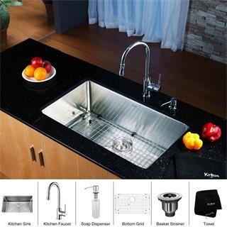 kraus khu100 30 kpf1622 ksd30ch stainless steel 30 undermount single bowl kitchen sink and chrome kitchen faucet with soap dispenser. Interior Design Ideas. Home Design Ideas