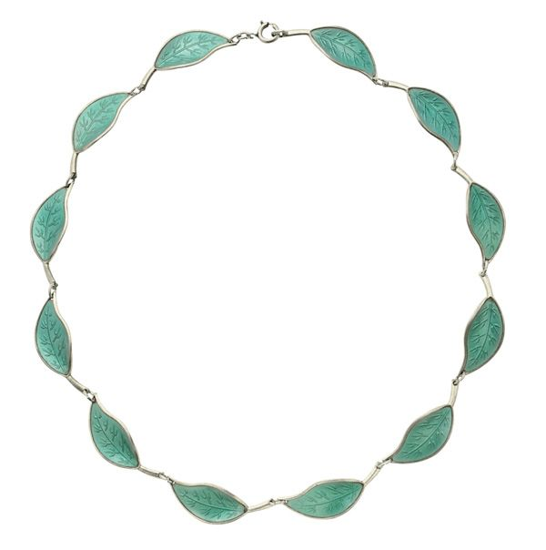 Green enamel leaf necklace...dainty and delicate!