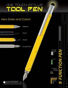 PenChalet - great reviews - Monteverde One Touch Tool Pen - Pen at one end and a stylus at the other - Ruler and built in Level on the barrel and Phillips and flat head screwdrivers are under the stylus.