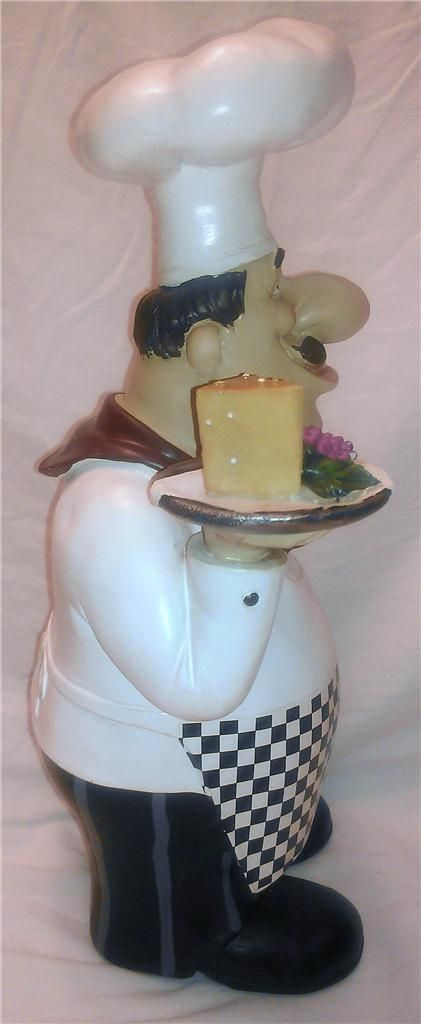Fat Chef French Italian Bistro Statue Large Figurine Kitchen Decor