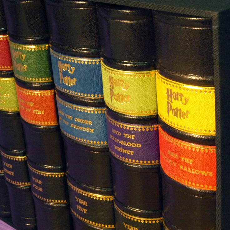 Harry Potter Leather bound set. Oh my. I actually need this! My paperbacks are falling apart.