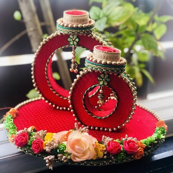 Ring Ceremony Tray Made Up With Mdf Wooden And Pure Gaji Silk Fabric Enhance With Foam Flower Wedding Gifts Packaging Indian Wedding Gifts Ring Box Wedding Diy