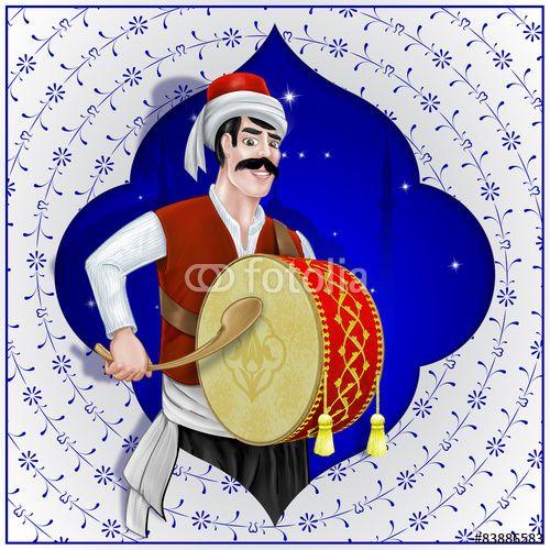 Karakter İllüstrasyonu Ramazan Davulcusu