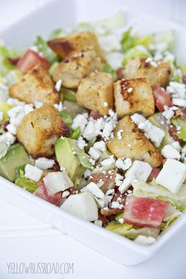 Yellow Bliss Road: Chopped Cobb Salad with Homemade Garlic & Herb Croutons