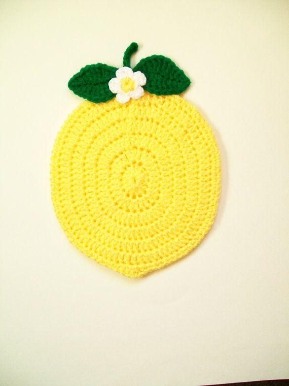 Fruta pote titular amarillo limón cojín caliente tomaollas
