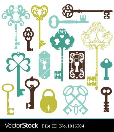 Collection of antique keys vector art - Download Key vectors - 1016304