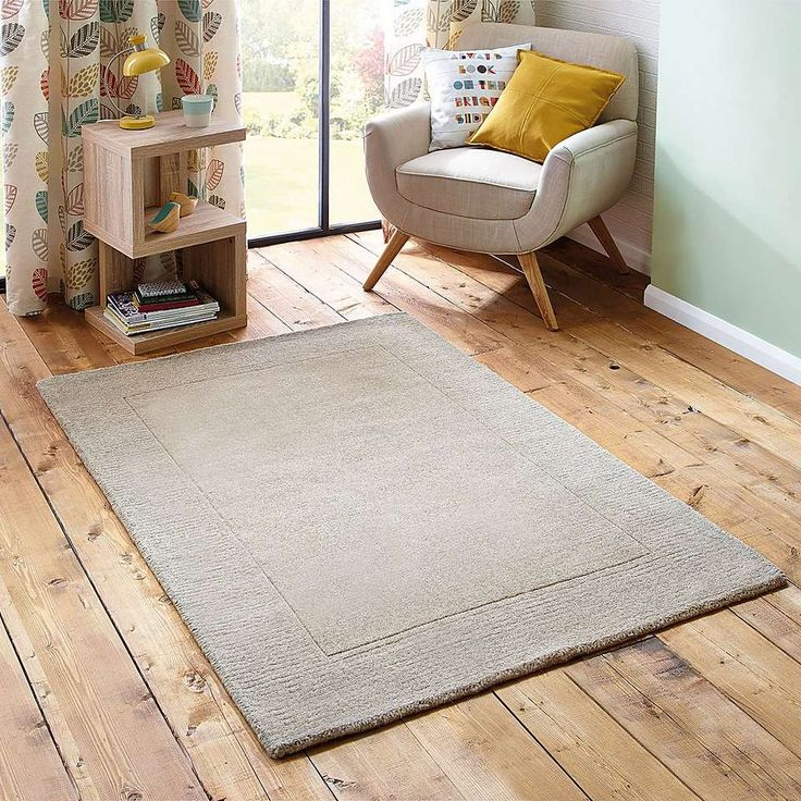 Natural Border Wool Rug | Dunelm