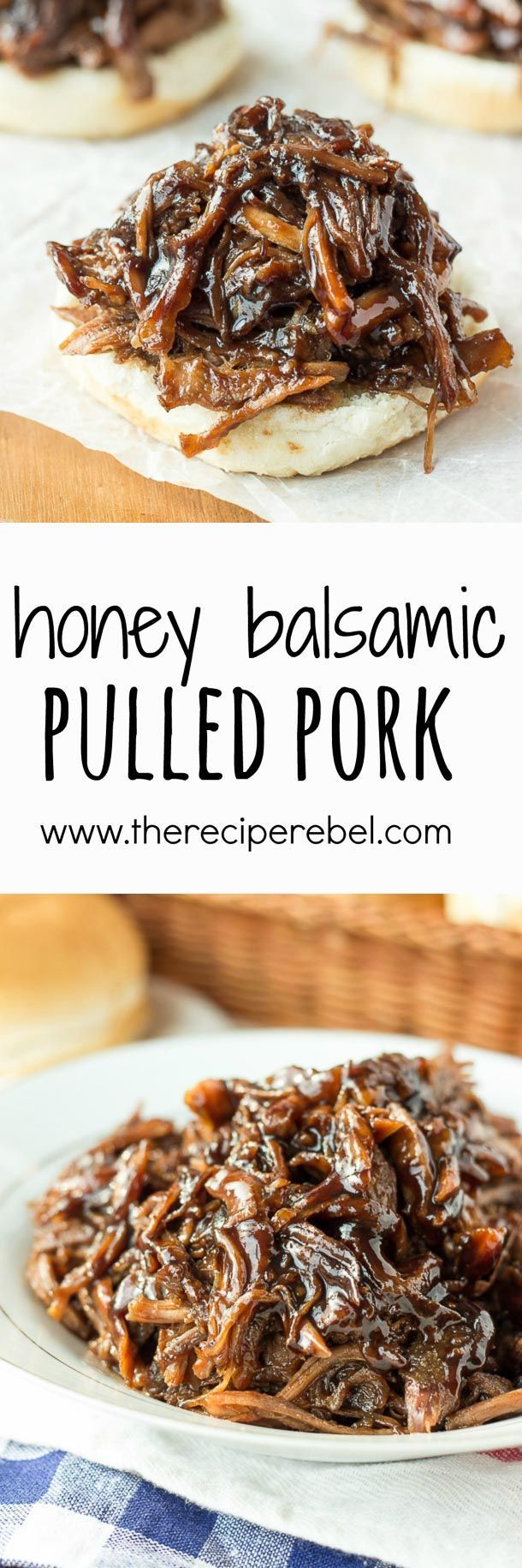 Slow Cooker Honey Balsamic Pulled Pork: Incredible thick, sweet and tangy honey balsamic sauce over slow-cooked pulled pork -- my absolute favorite way to do pulled pork! Perfect crockpot meal for summer or a busy weeknight! www.thereciperebe...
