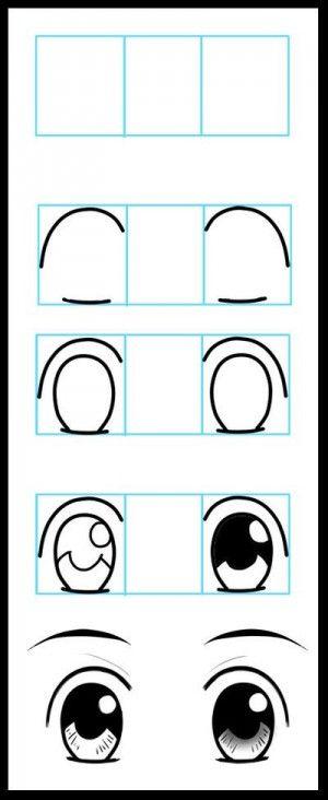 mooi stappenplan voor het tekenen van ogen