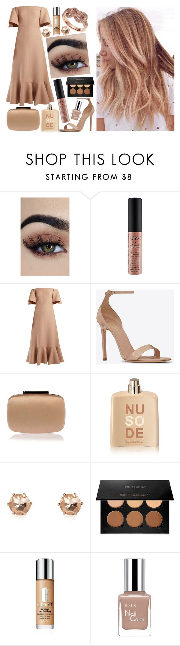 """""""Unbenannt #611"""" by bilge-oytun ❤ liked on Polyvore featuring NYX, Valentino, Yves Saint Laurent, Manolo Blahnik, COSTUME NATIONAL, River Island, Anastasia Beverly Hills, Clinique, RMK and Effy Jewelry"""