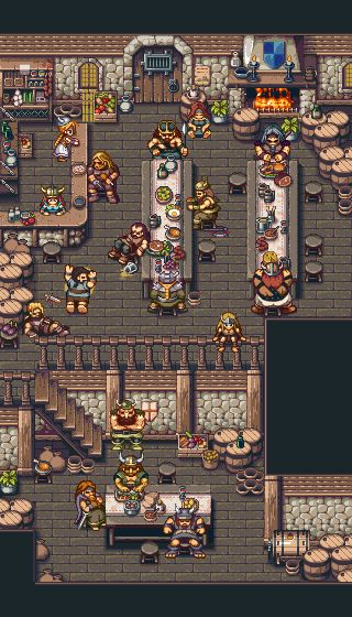Vikings Tavern and Village Pixel Artist: albertov Source: pixeljoint.com (Tavern) pixeljoint.com (Village) Note: albertov also made 16-bit styled pixel art for the vertical shooter Super Star Path